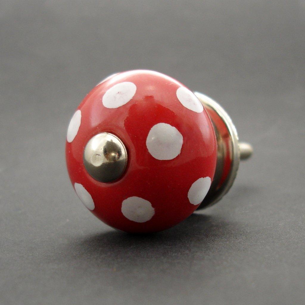 Keramická úchytka-Červená s puntíky-MALÁ