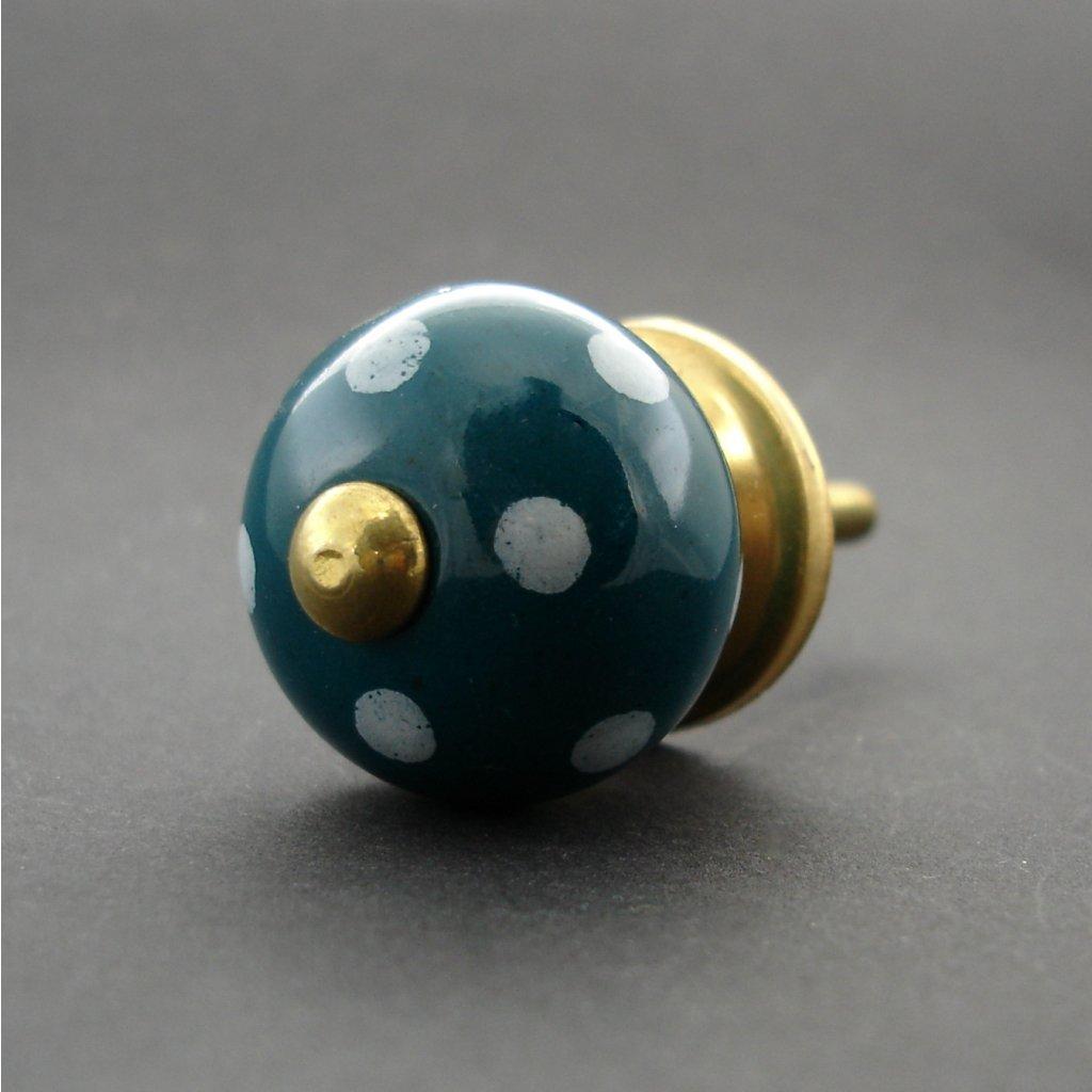 Keramická úchytka-Petrolejová s puntíky-MALÁ