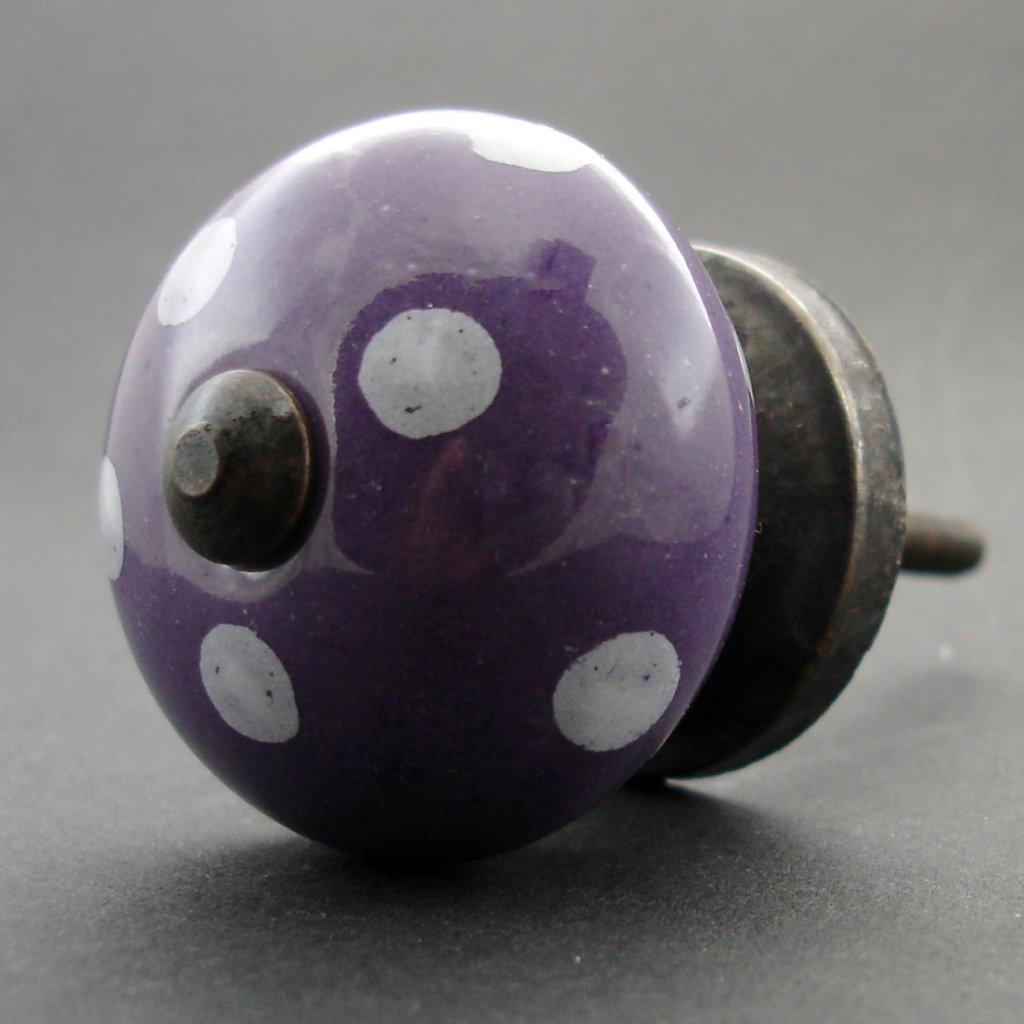 Keramická úchytka -Fialová s puntíky
