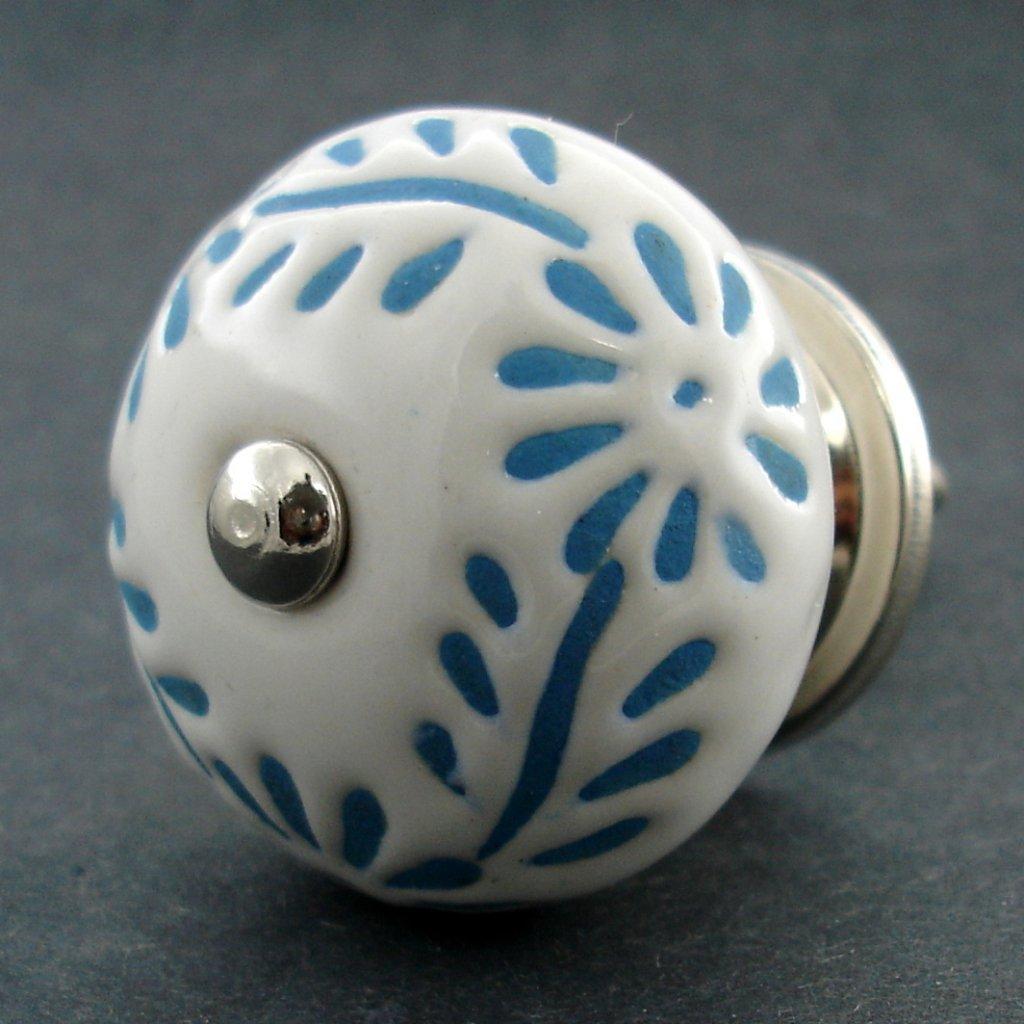 Keramická úchytka-Modrý folk