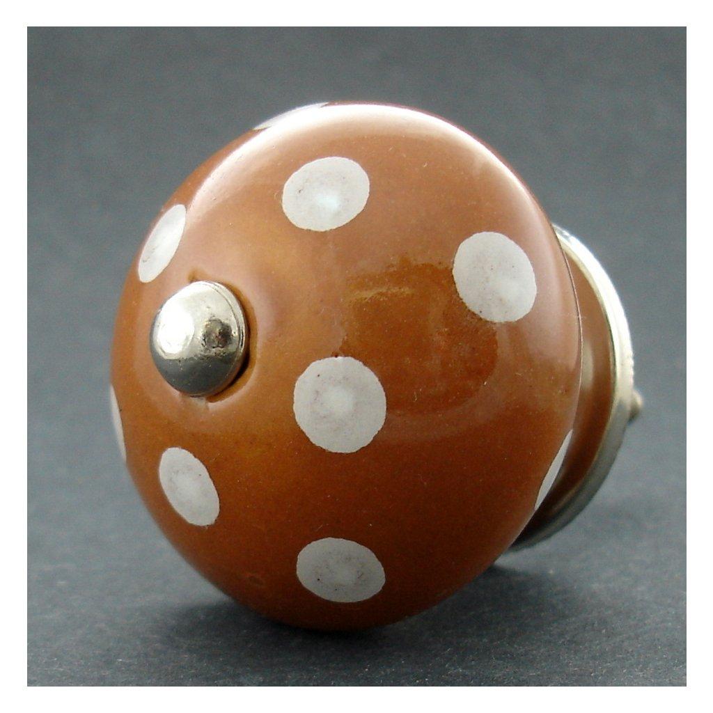 Keramická úchytka-Hnědá s puntíky