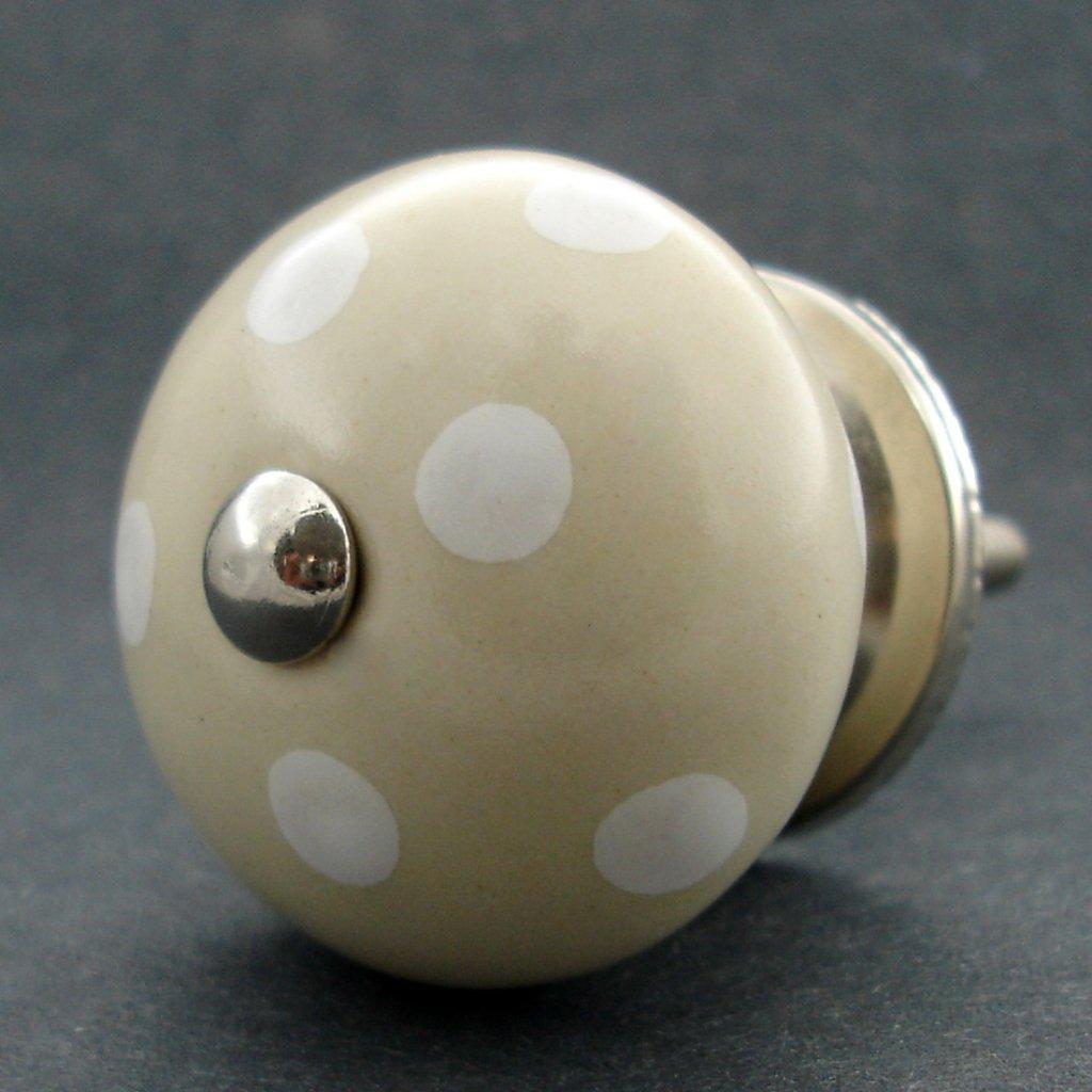 Keramická úchytka-Krémová s puntíky