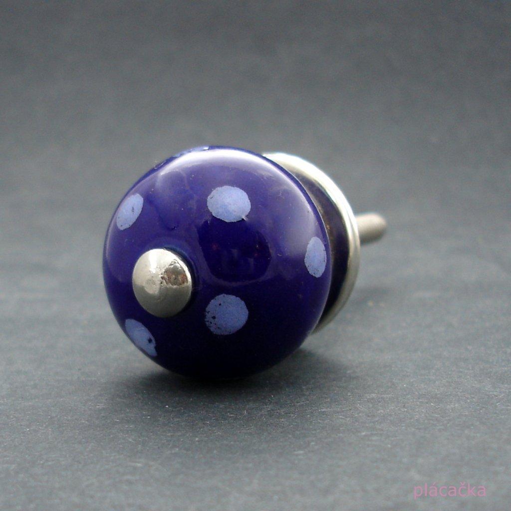 Keramická úchytka-Modrá tmavá s puntíky MALÁ