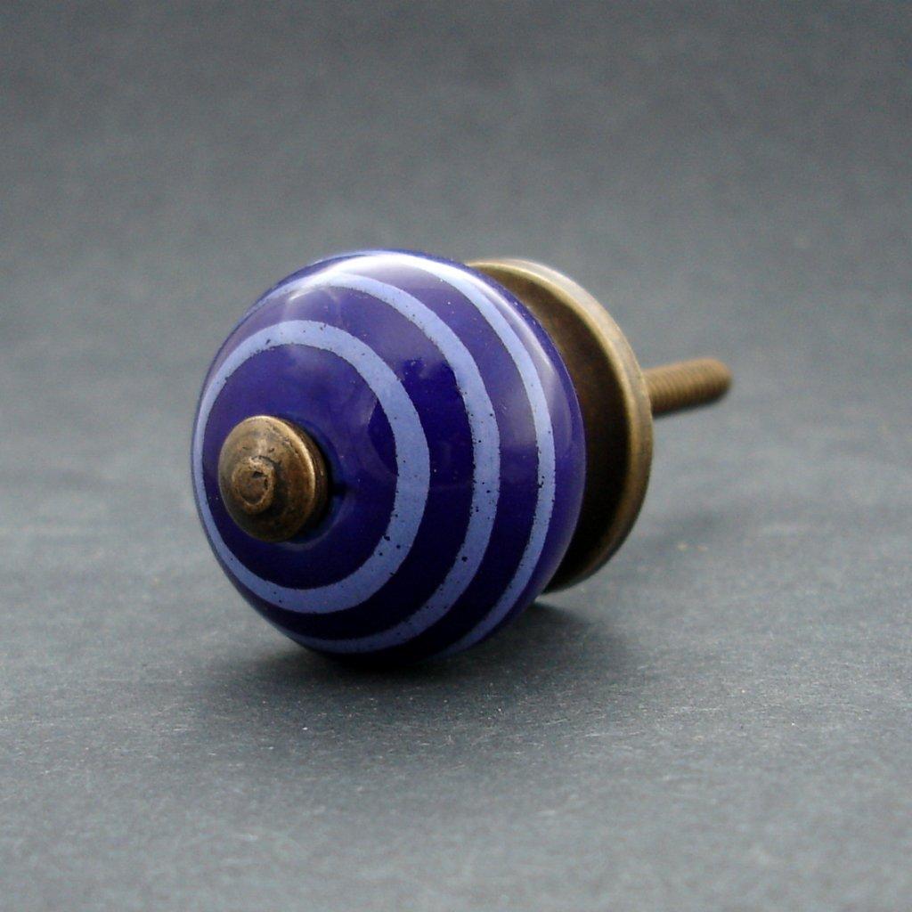 Keramická úchytka-Modrá tmavá s proužky MALÁ