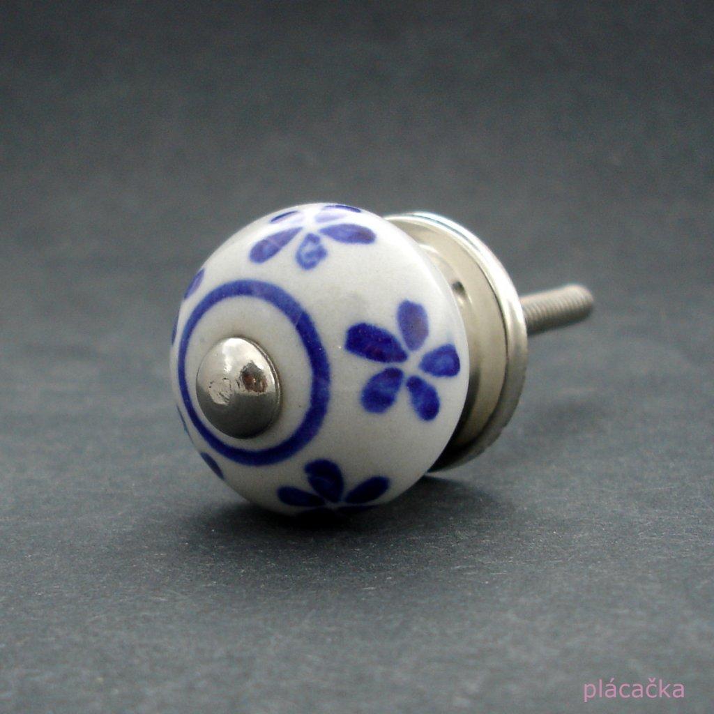 Keramická úchytka -Pomněnka s modrými kvítky MALÁ