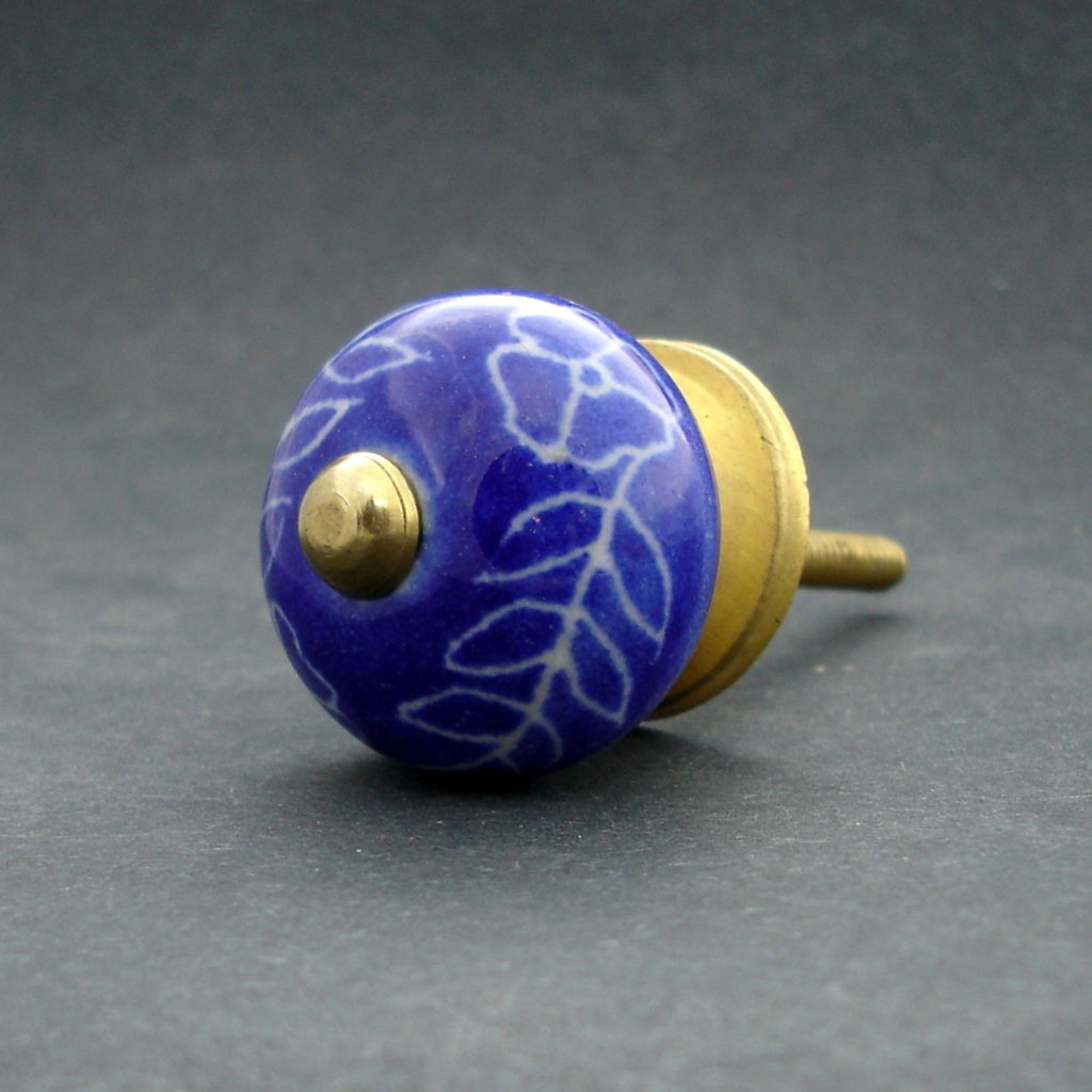 Keramická úchytka-Povíjnice modrá rytá MALÁ