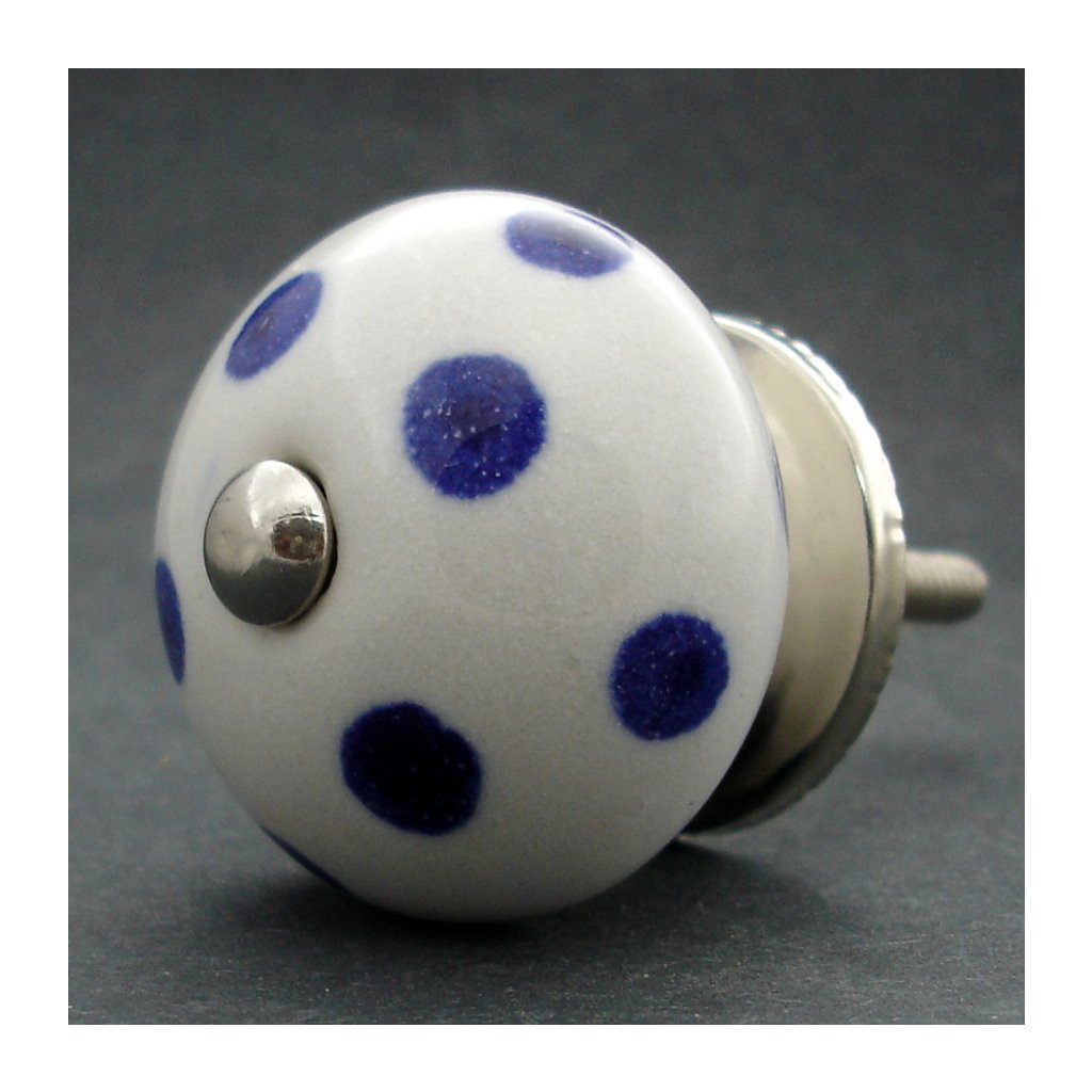 Keramická úchytka-Tmavě modrý puntík
