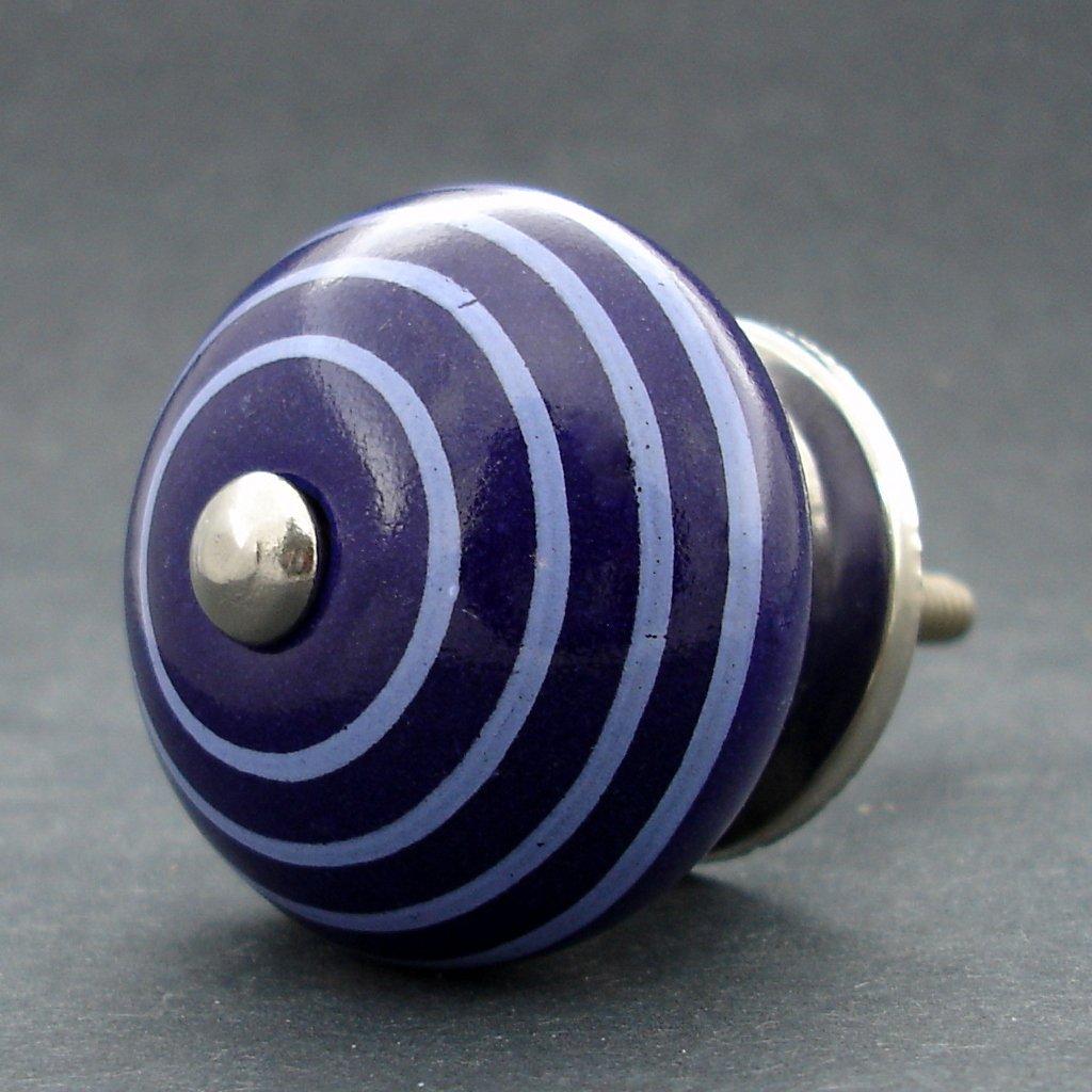 Keramická úchytka-Modrá tmavá s proužky