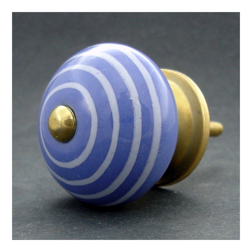 Keramická úchytka-Modrá pastel s proužky