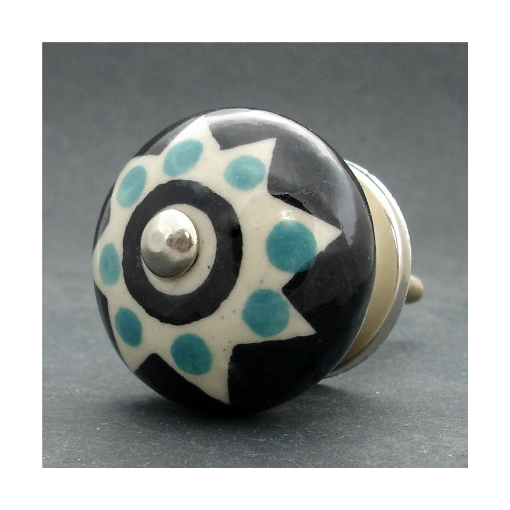 Keramická úchytka-Hvězda s puntíky