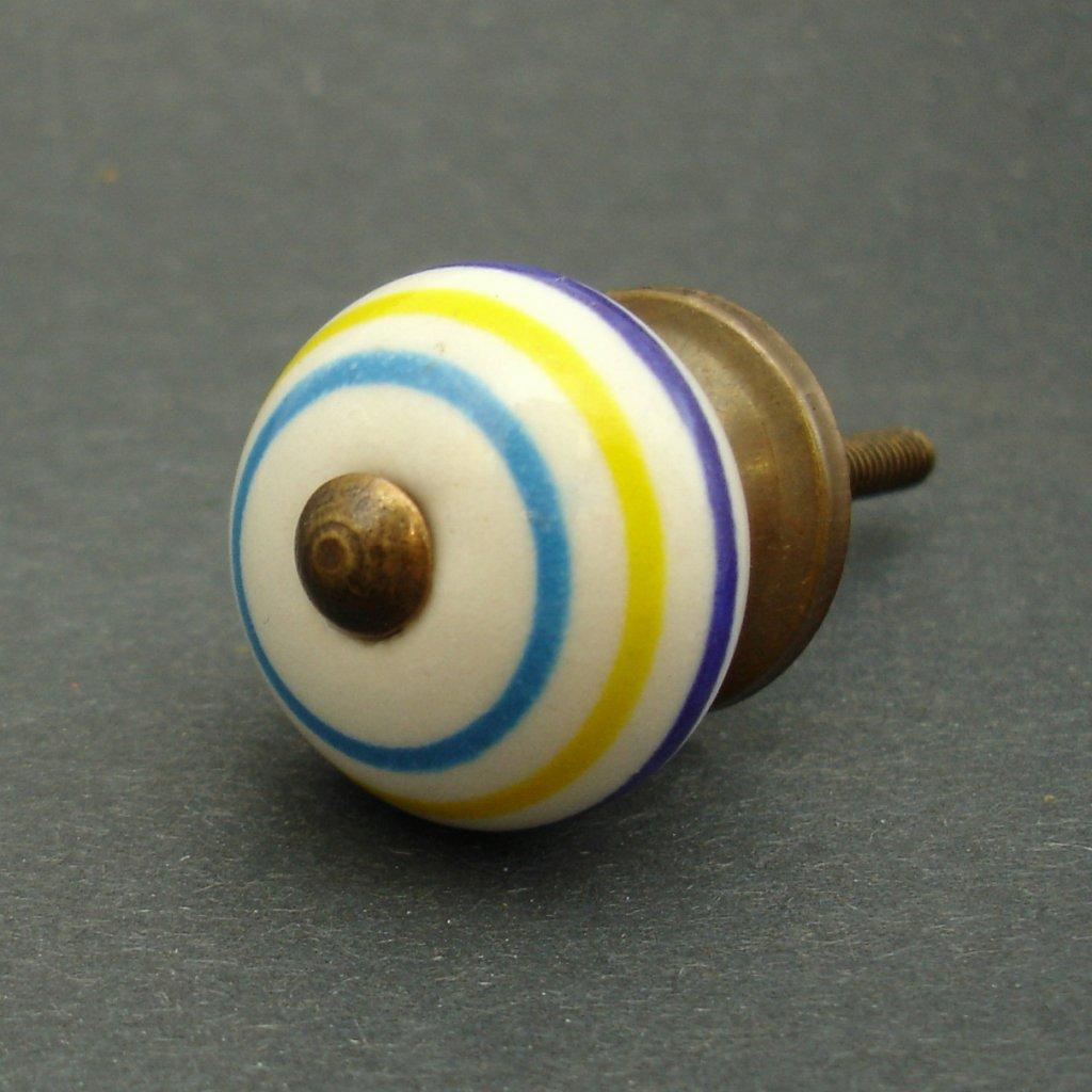 Keramická úchytka-Modré a žluté proužky-MALÁ