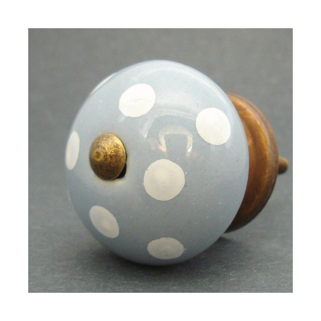Keramická úchytka-Šedá s puntíky