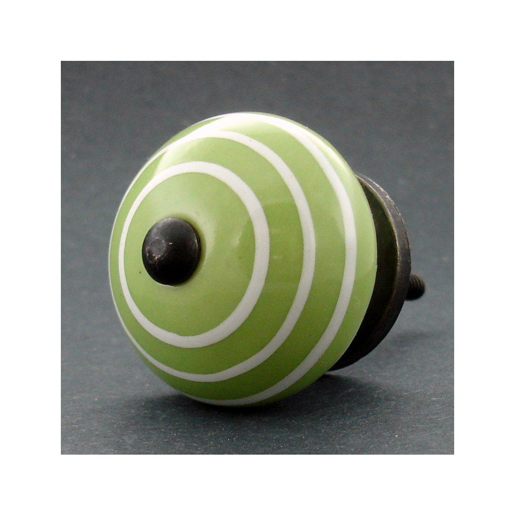Keramická úchytka-Zelená s proužky