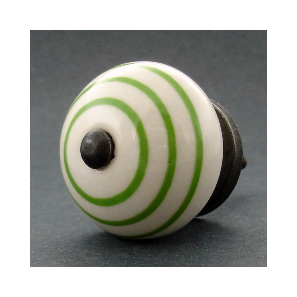 Keramická úchytka-Zelené proužky