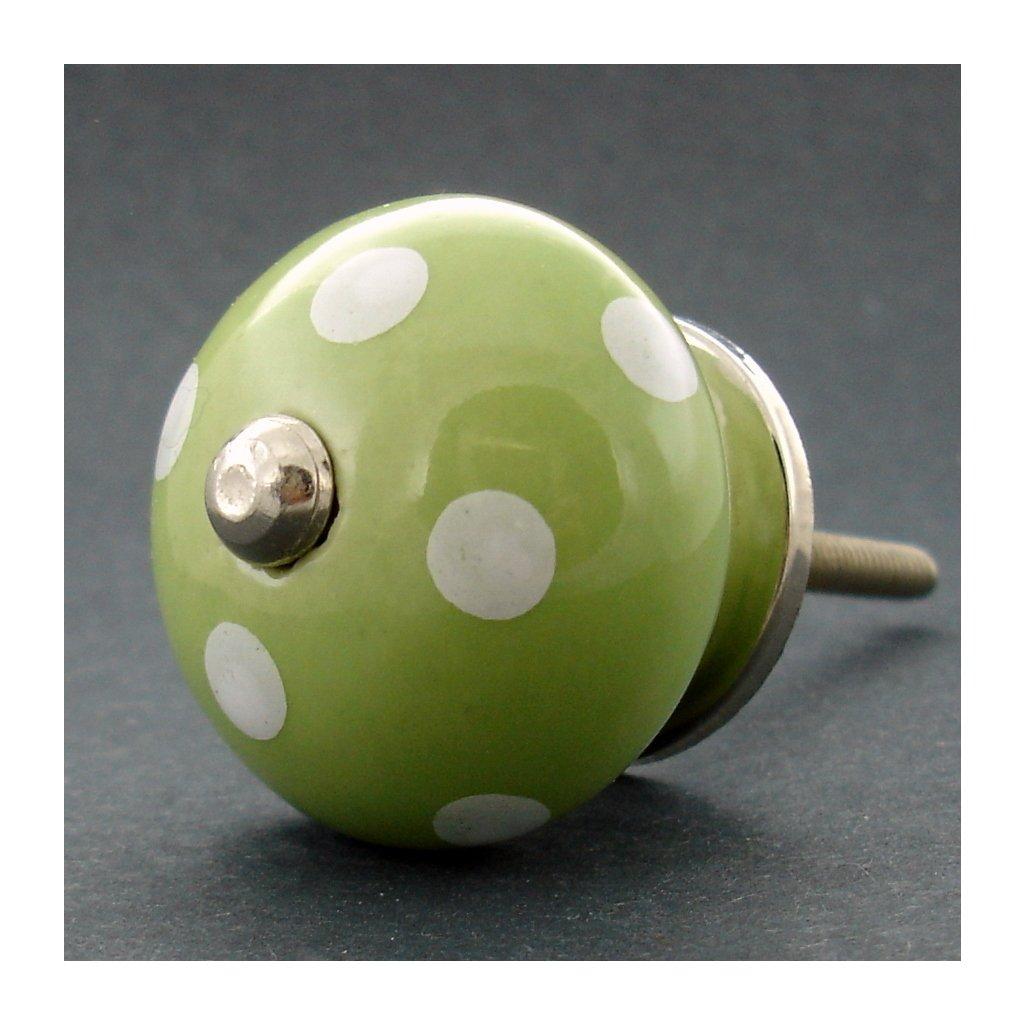 Keramická úchytka-Zelená s puntíky