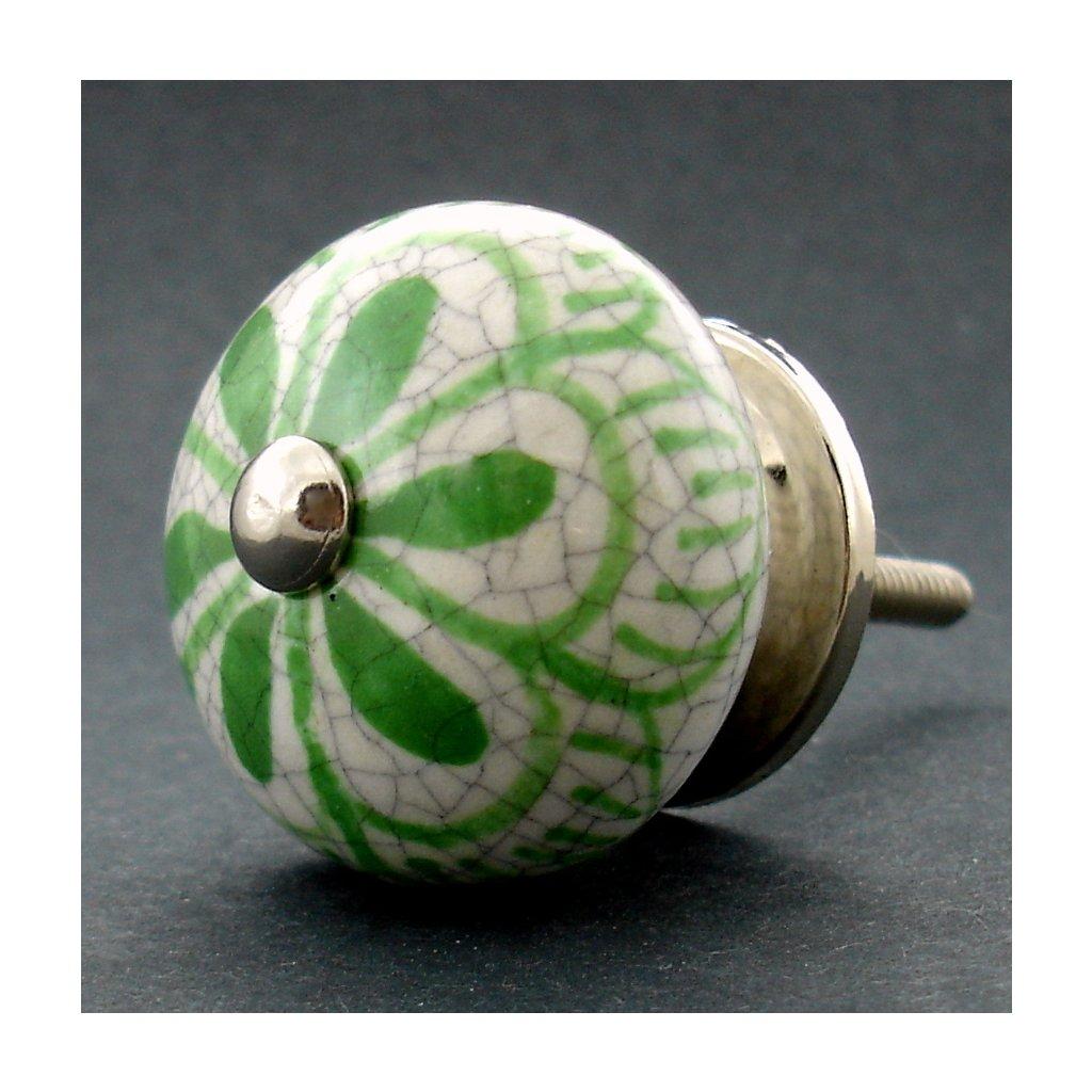 Keramická úchytka-Zelený květ kraklé