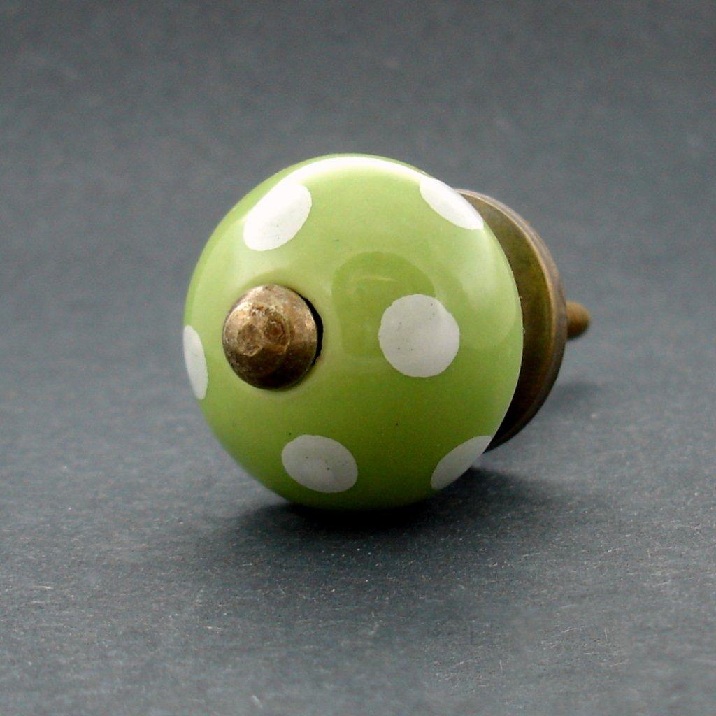 Keramická úchytka-Zelená s puntíky-MALÁ