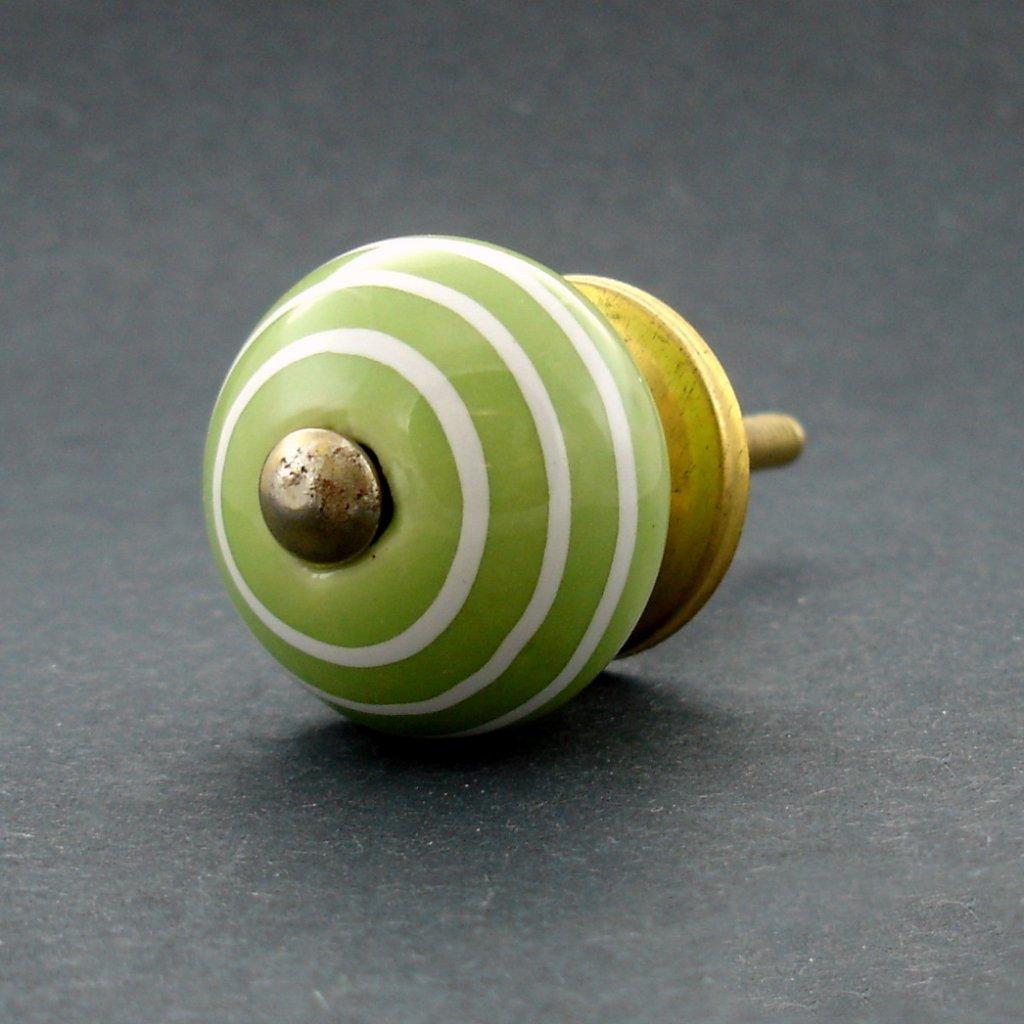 Keramická úchytka-Zelená s proužky-MALÁ