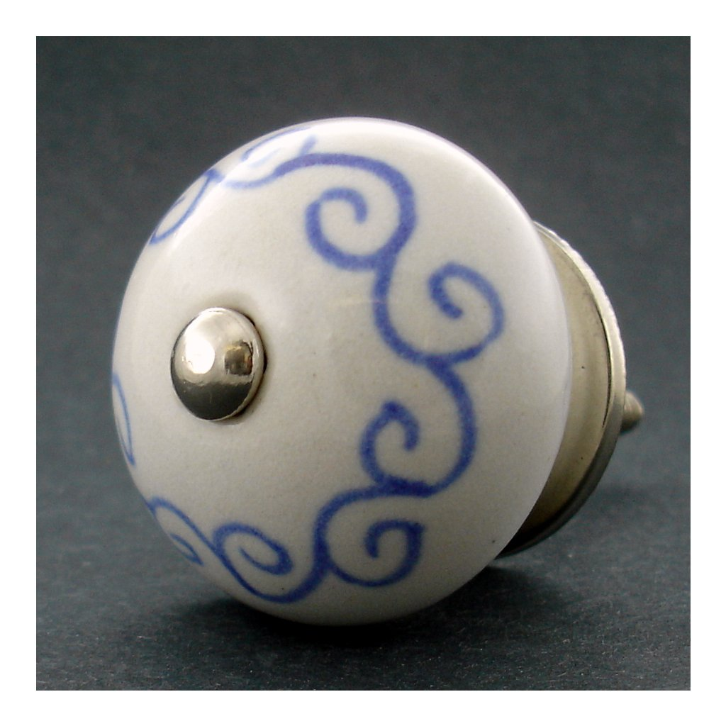 Keramická úchytka-Spirála modrá