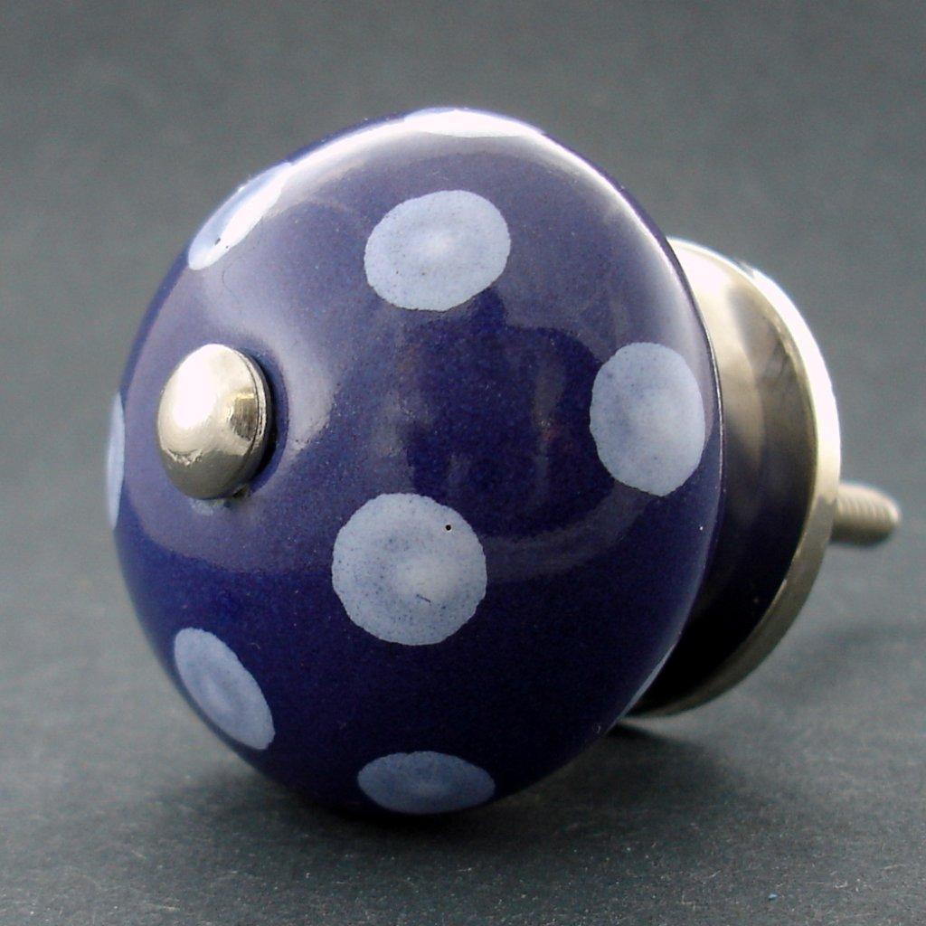 Keramická úchytka-Modrá tmavá s puntíky