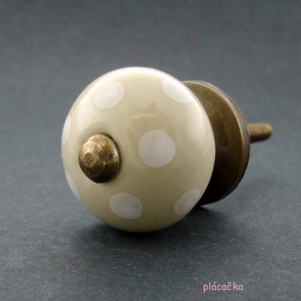 Keramická úchytka-Krémová s puntíky-MALÁ