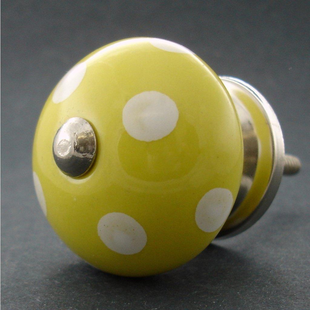 Keramická úchytka -Žlutá s puntíky