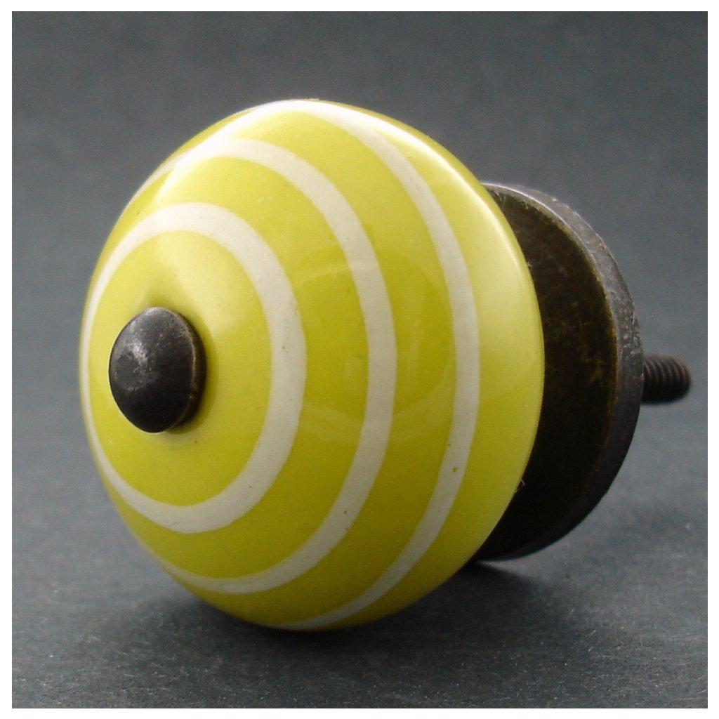 Keramická úchytka -Žlutá s proužky