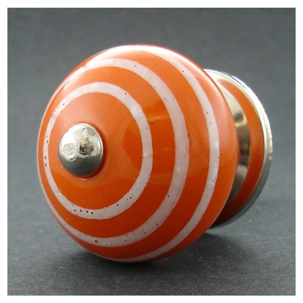 Keramická úchytka -Oranžová s proužky