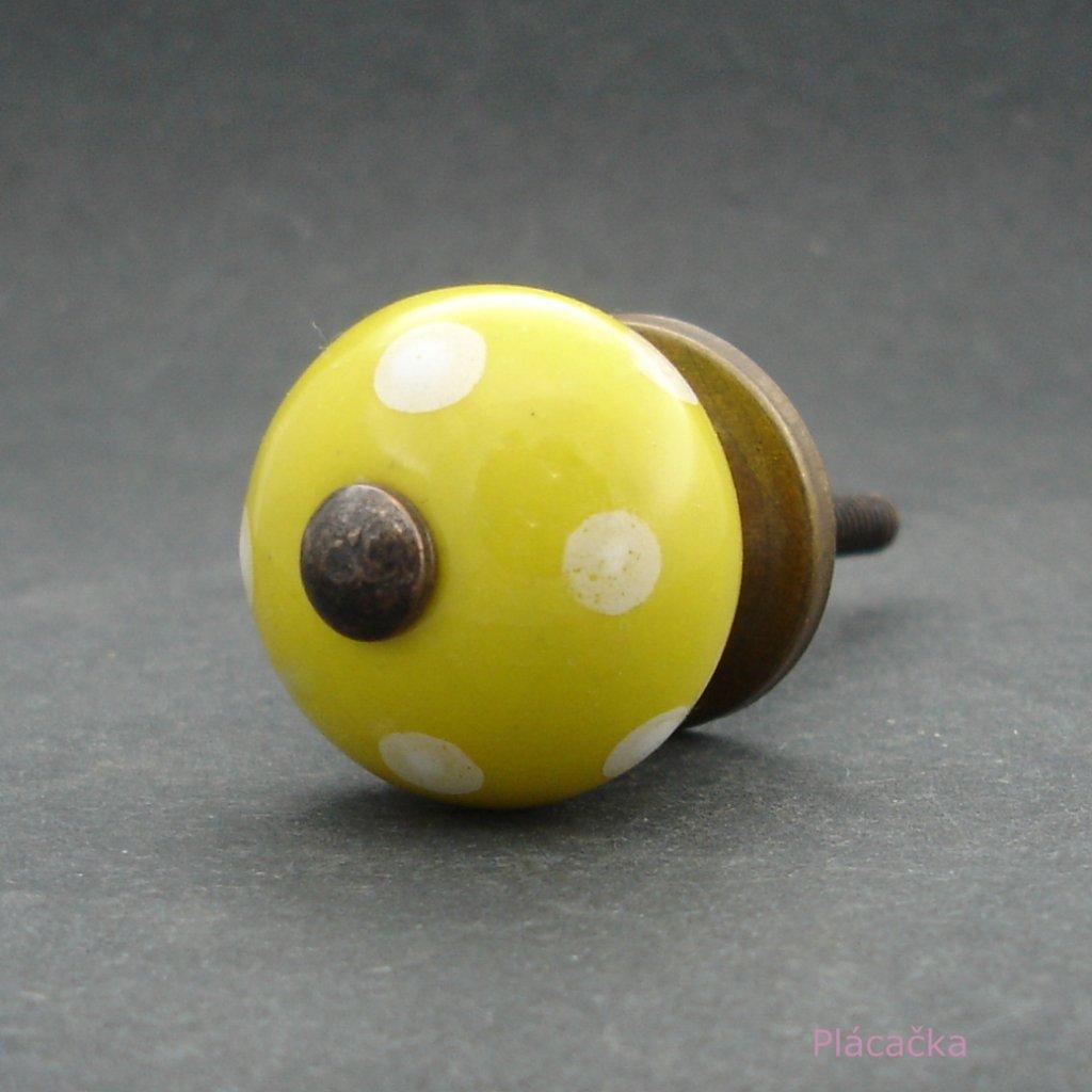 Keramická úchytka-Žlutá s puntíky-MALÁ