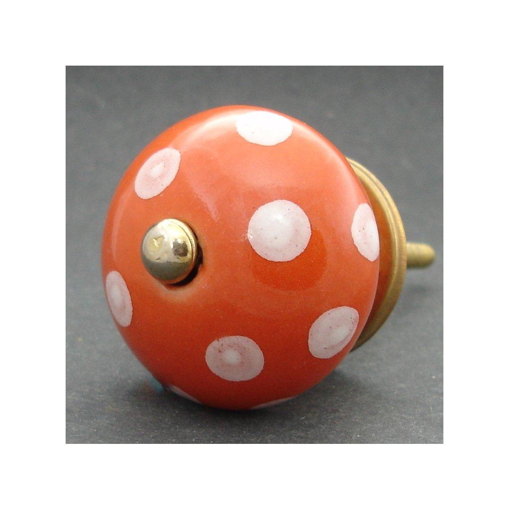Keramická úchytka -Oranžová s puntíky
