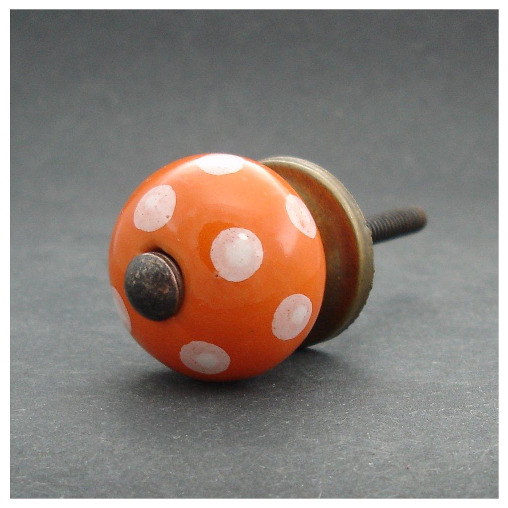 Keramická úchytka-Oranžová s puntíky-MALÁ
