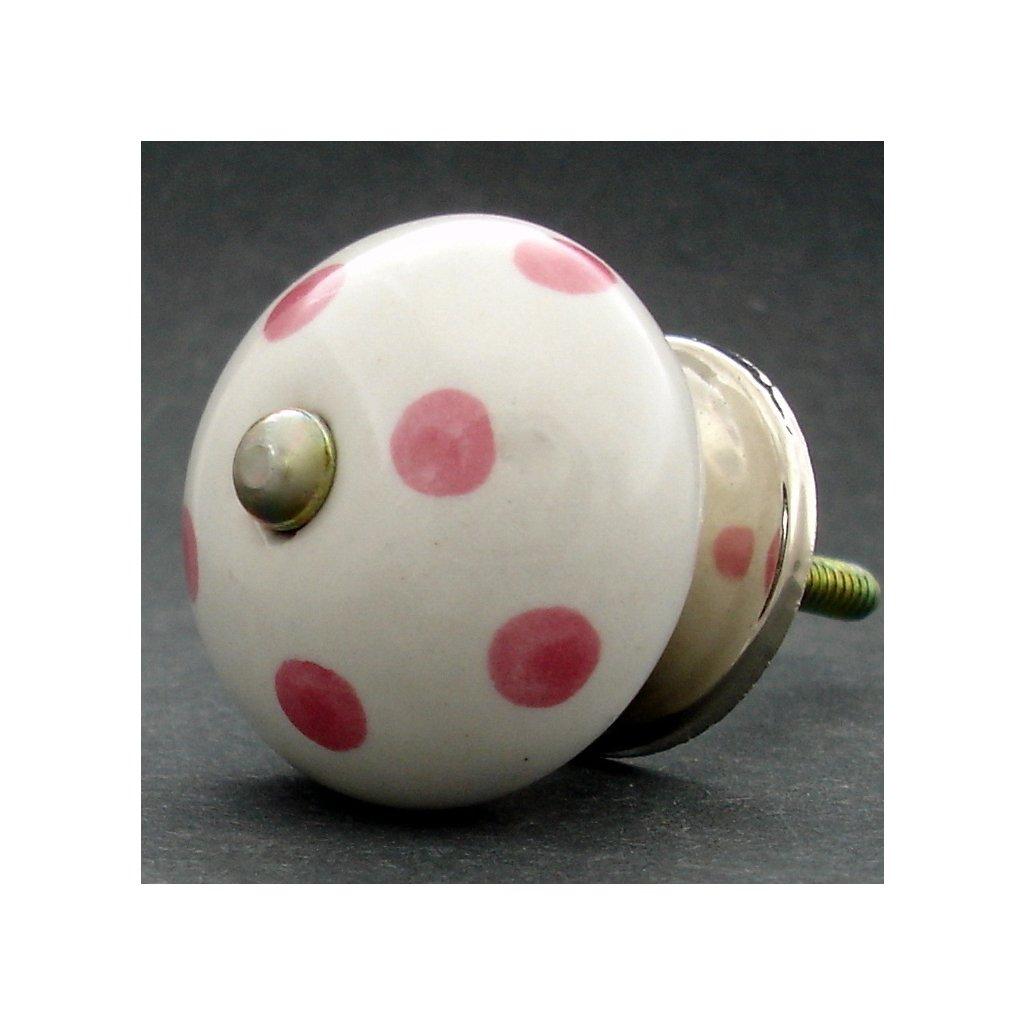 Keramická úchytka-Růžové puntíky