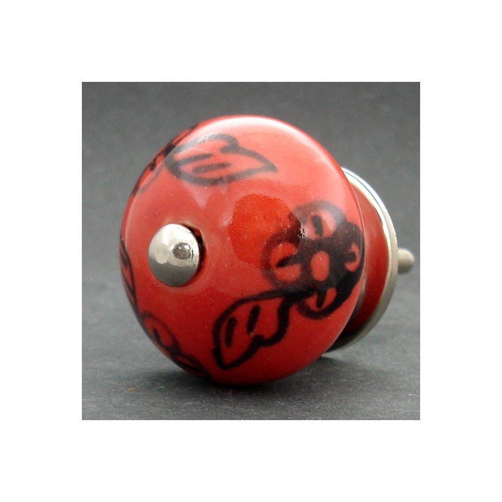 Keramická úchytka -Červená s černým květem