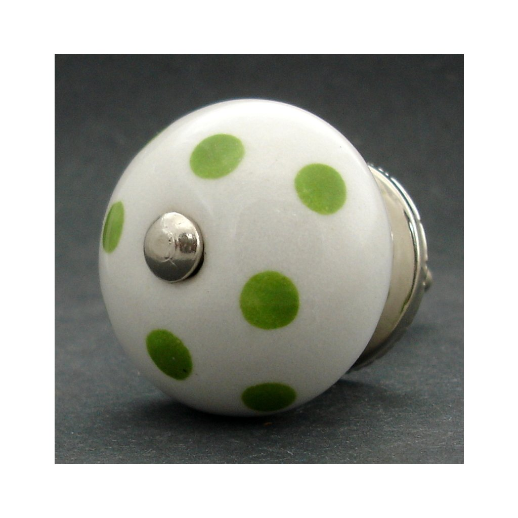 Keramická úchytka-Zelené puntíky