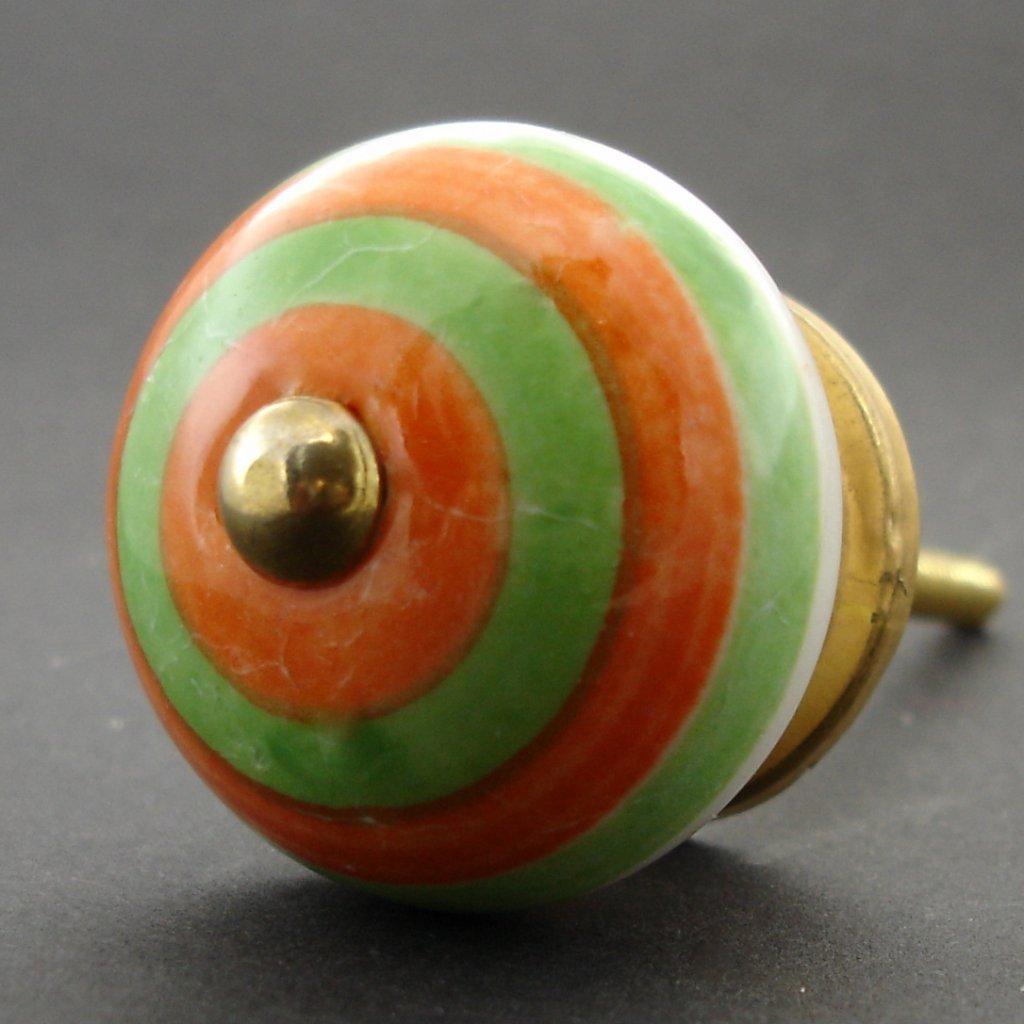 Keramická úchytka-Zelenooranžové pruhy
