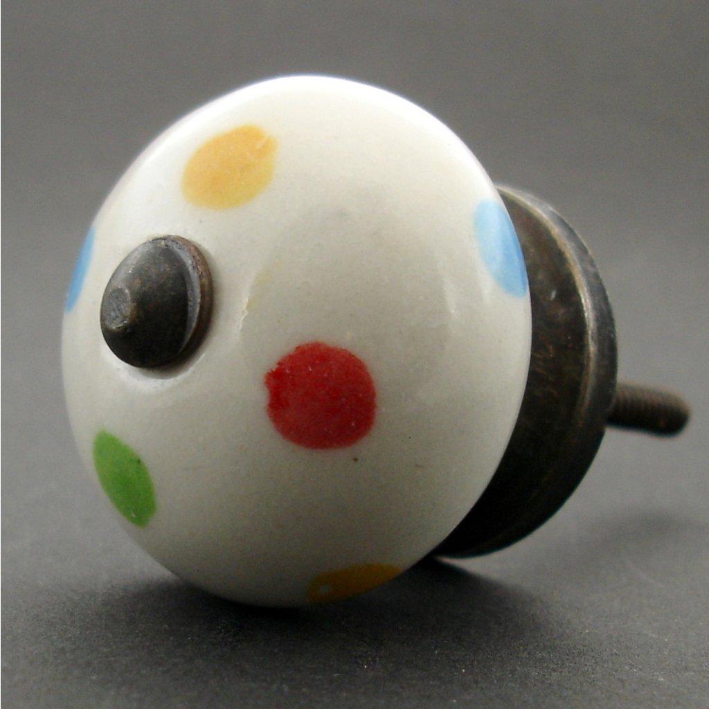 Keramická úchytka-Pestré puntíky