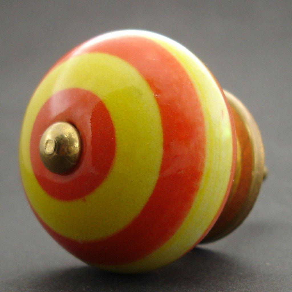 Keramická úchytka-Žluté a oranžové pruhy