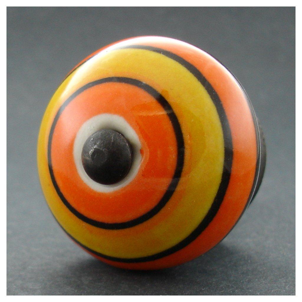 Keramická úchytka-Okrové a oranžové pruhy