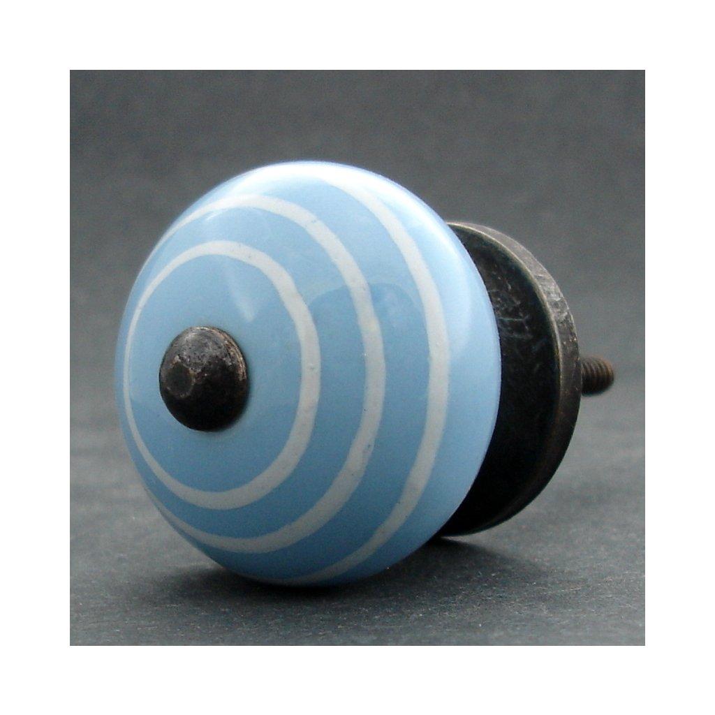 Keramická úchytka-Modrá s proužkem