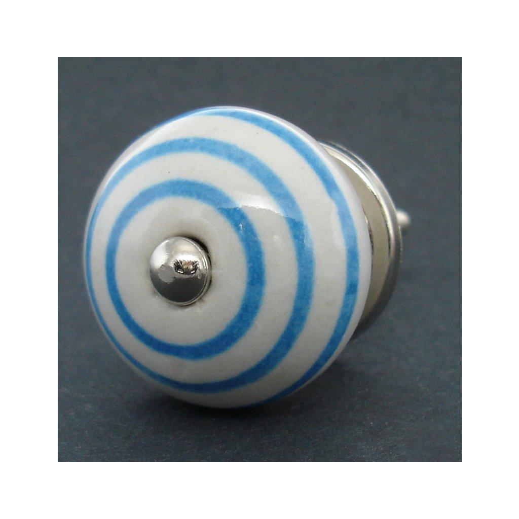 Keramická úchytka-Modrý proužek
