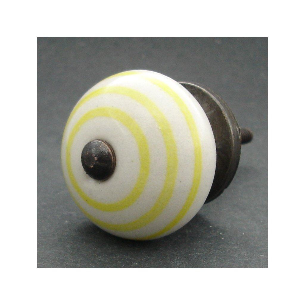 Keramická úchytka-Žlutý proužek