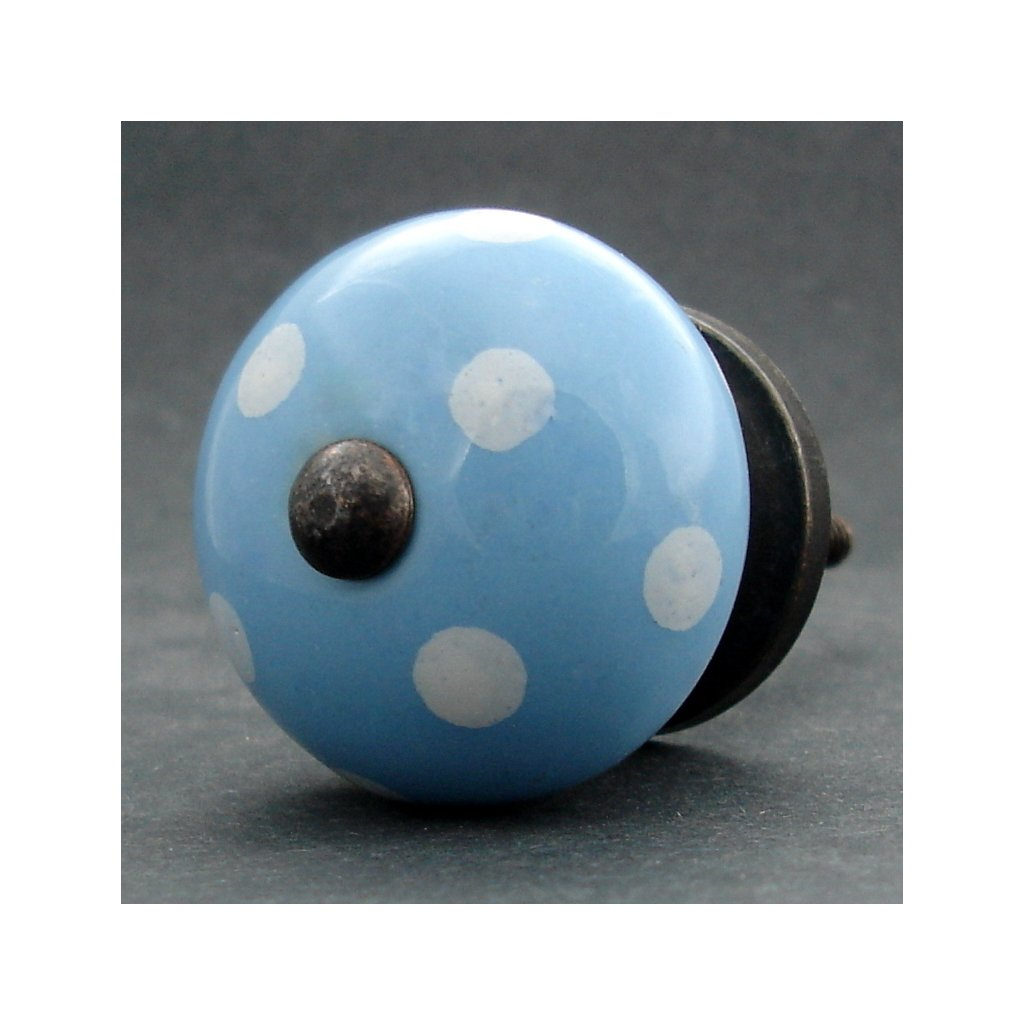 Keramická úchytka-Modrá s puntíkem