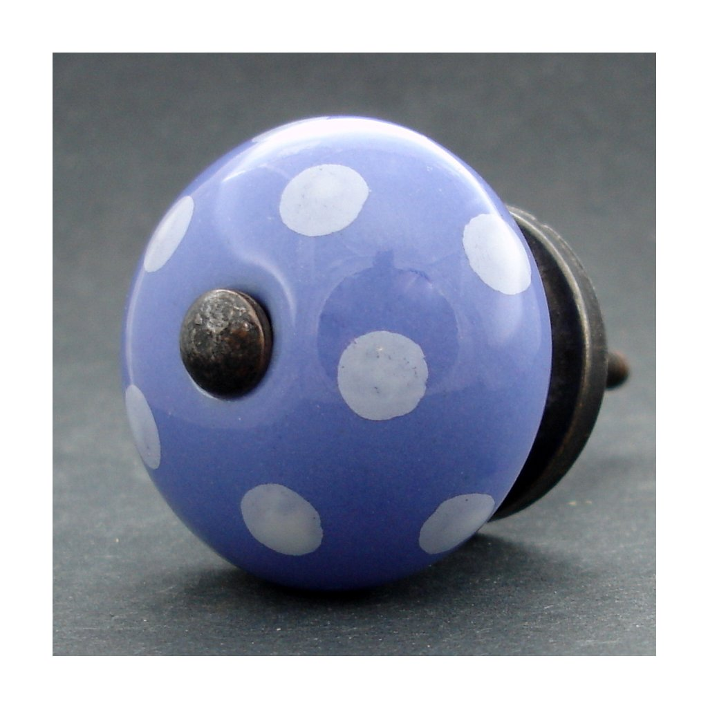 Keramická úchytka-Modrá pastel s puntíky