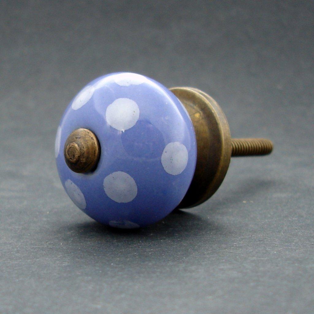 Keramická úchytka-Modrá pastel s puntíkem MALÁ