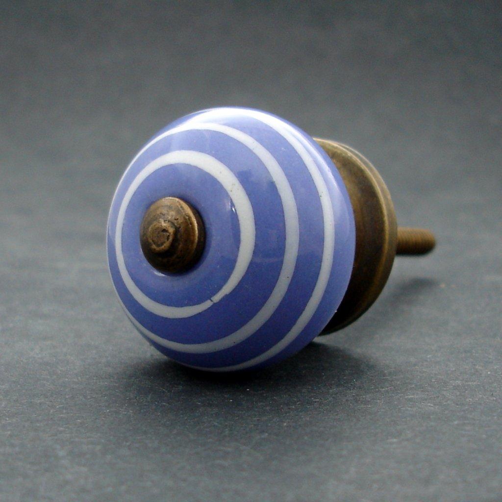 Keramická úchytka-Modrá pastel s proužkem MALÁ