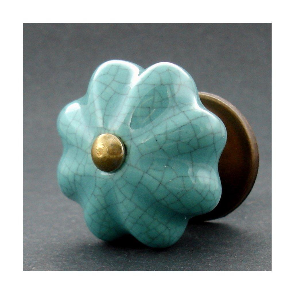 Keramická úchytka-Tyrkys květ crackle