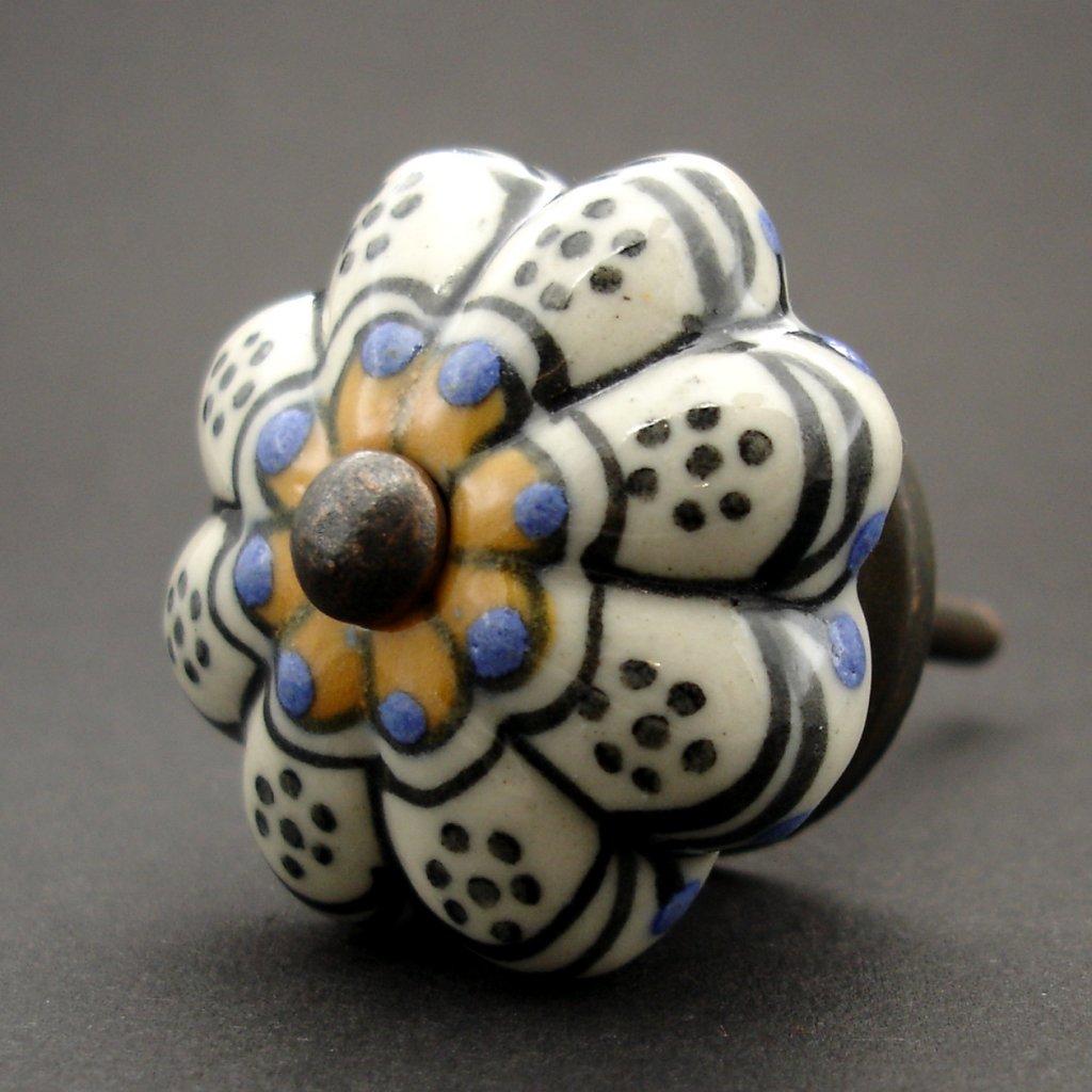 Keramická úchytka-Přírodní žlutomodrá kytička