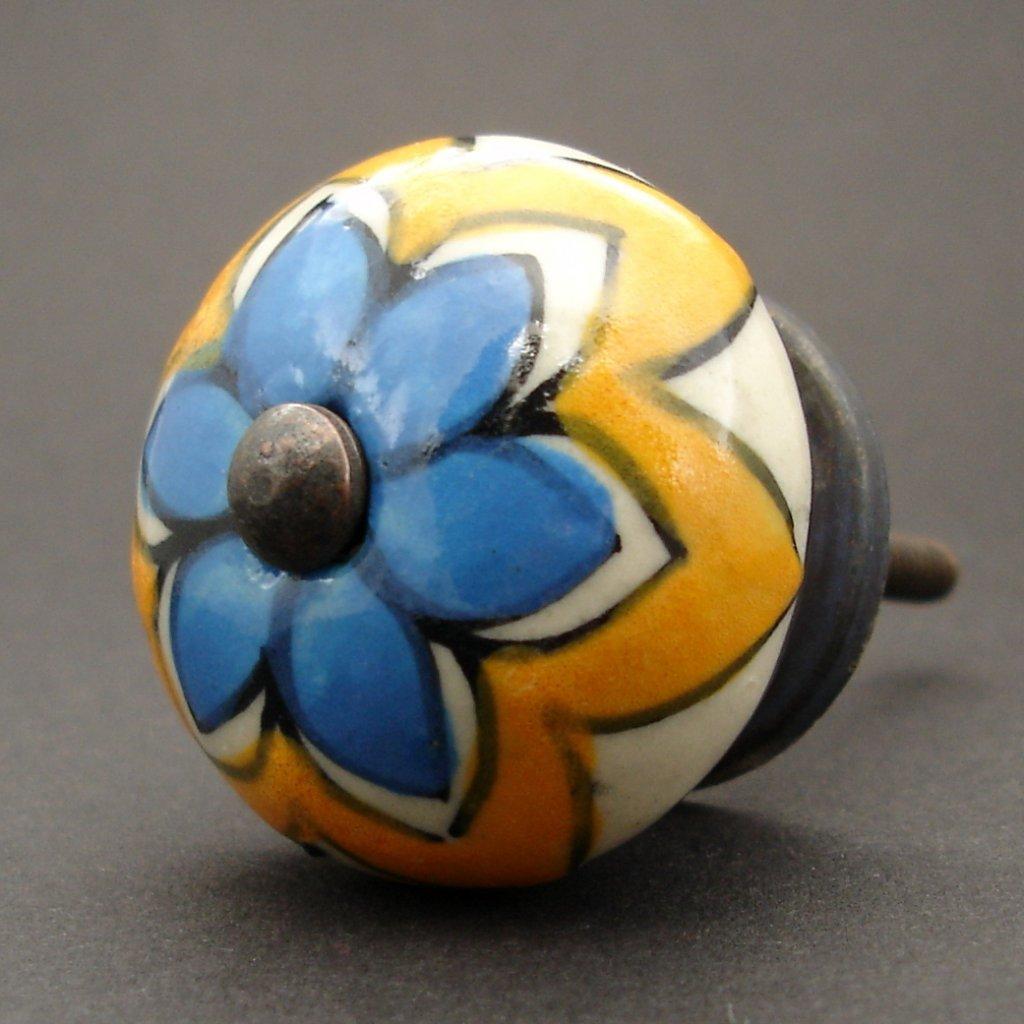 Nábytková úchytka-Modrý květ v květu
