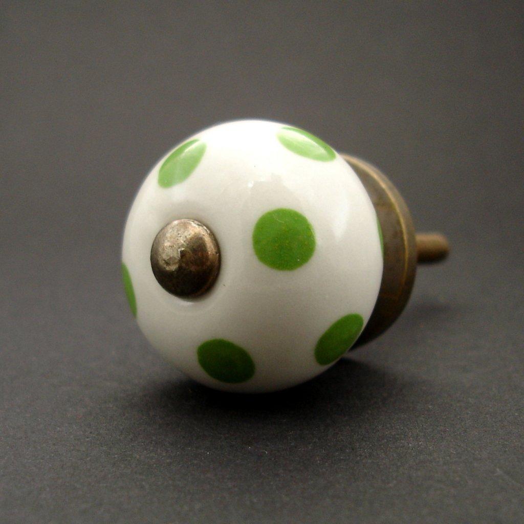Keramická úchytka-Zelený puntík MALÁ