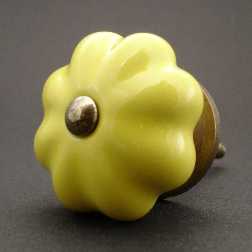 Keramická úchytka-Žlutý květ